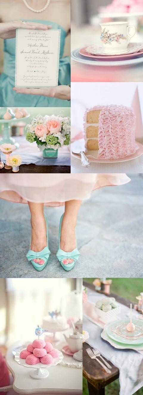 Světle růžovo-modrá svatební tabule
