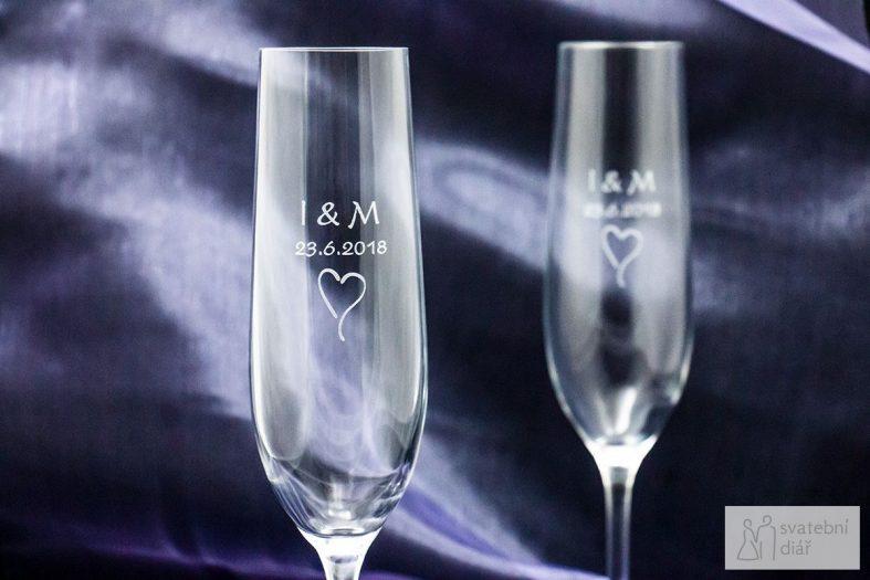 Svatební skleničky se jmény