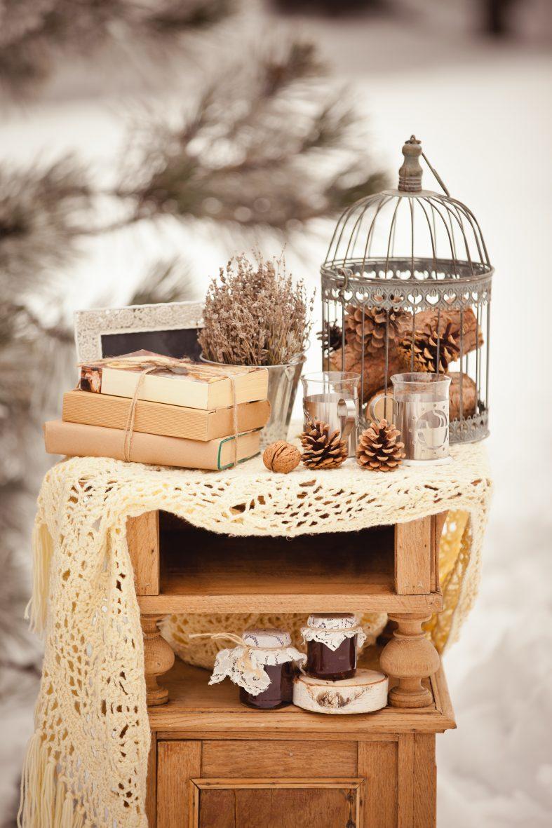 Netradiční svatební dekorace pro zimní svatbu