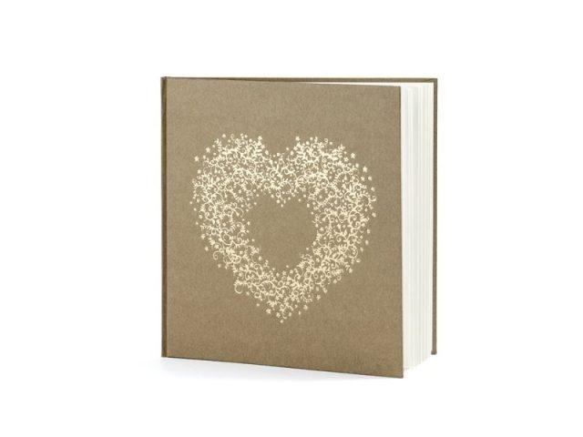 Svatební kniha se zlatým srdcem HNĚDÁ, 22 listů