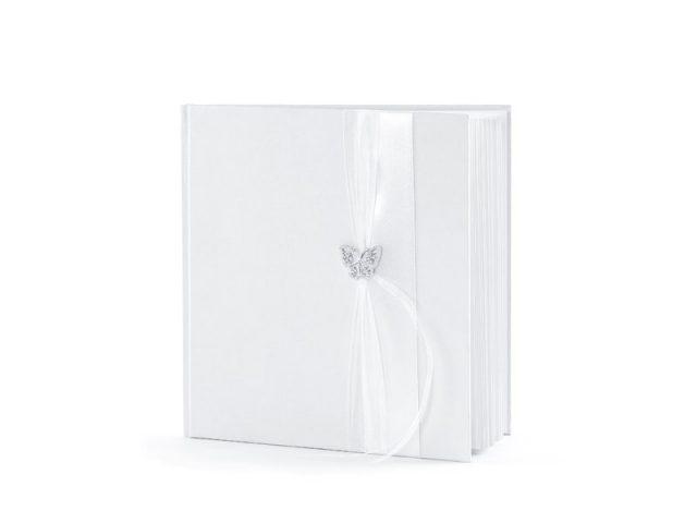 Svatební kniha Stříbrný motýlek bílá, 22 listů