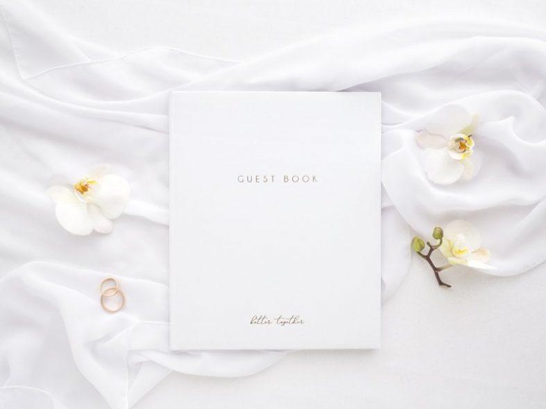 Luxusní bílá svatební kniha hostů