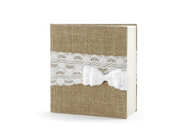 Svatební kniha hnědá s krajkovou mašličkou, 22 listů
