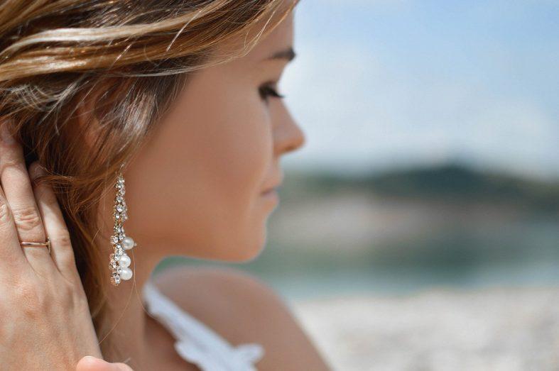 Ocelové visací náušnice s perlami