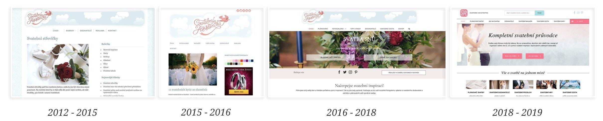 Vývoj vzhledu webu svatební asistentka