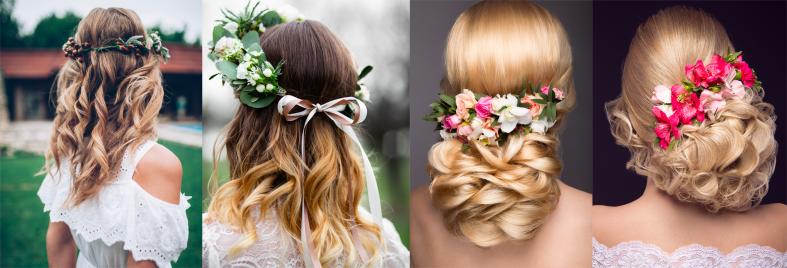 Svatební účesy s věnečkem a květinami