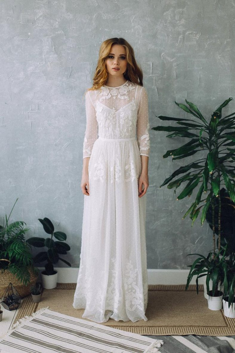 Jednoduché boho svatební šaty