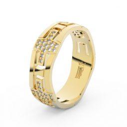 Dámský snubní prsten ze žlutého zlata s diamanty Danfil DF 3042