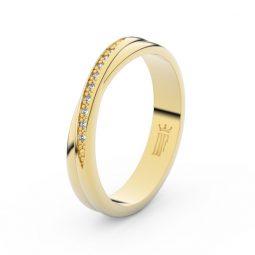 Dámský snubní prsten ze žlutého zlata se zirkony, Danfil DLR3019