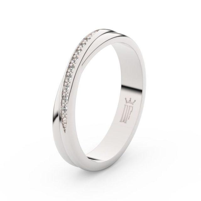 Dámský snubní prsten z bílého zlata se zirkony, Danfil DLR3019