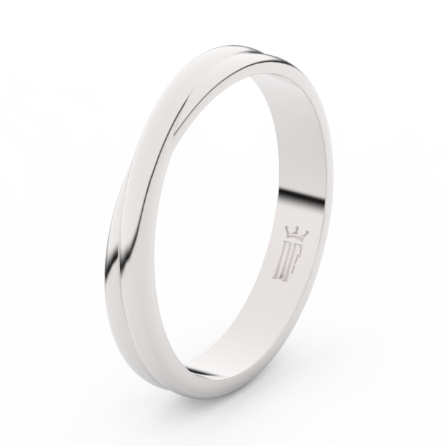 Pánský snubní prsten z bílého zlata Danfil DLR3020