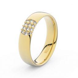 Dámský snubní prsten ze žlutého zlata se zirkony, Danfil DLR3021