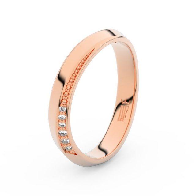Dámský snubní prsten z růžového zlata se zirkony, Danfil DLR3023