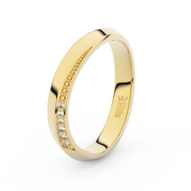 Dámský snubní prsten ze žlutého zlata se zirkony, Danfil DLR3023