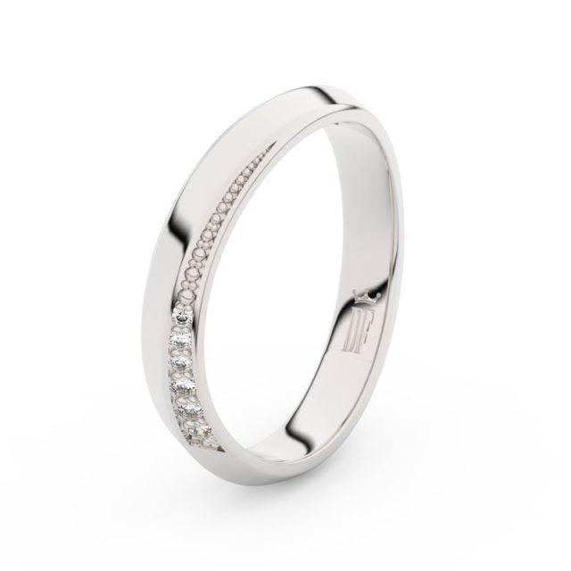 Dámský snubní prsten z bílého zlata se zirkony, Danfil DLR3023