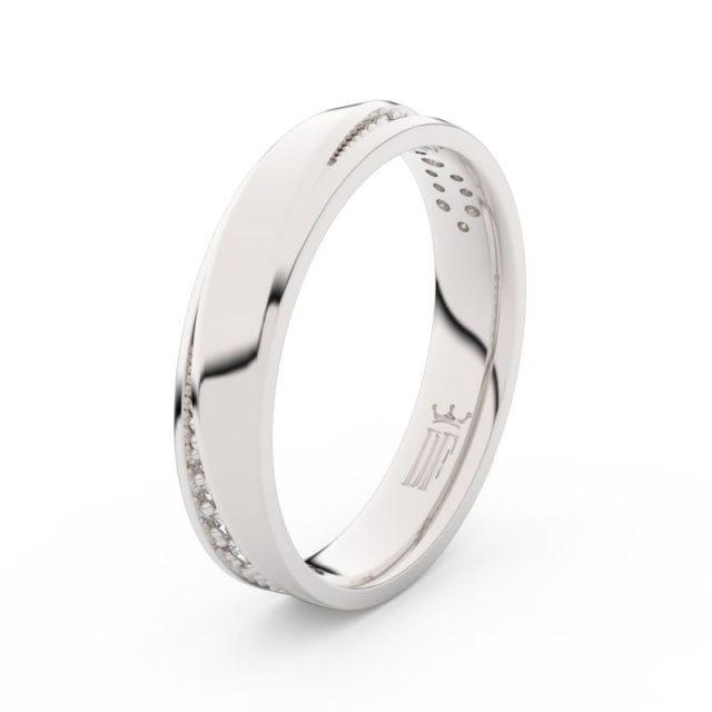 Dámský snubní prsten z bílého zlata se zirkony, Danfil DLR3025