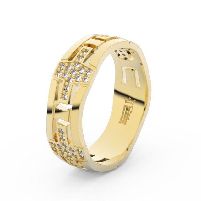 Dámský snubní prsten ze žlutého zlata se zirkony, Danfil DLR3042