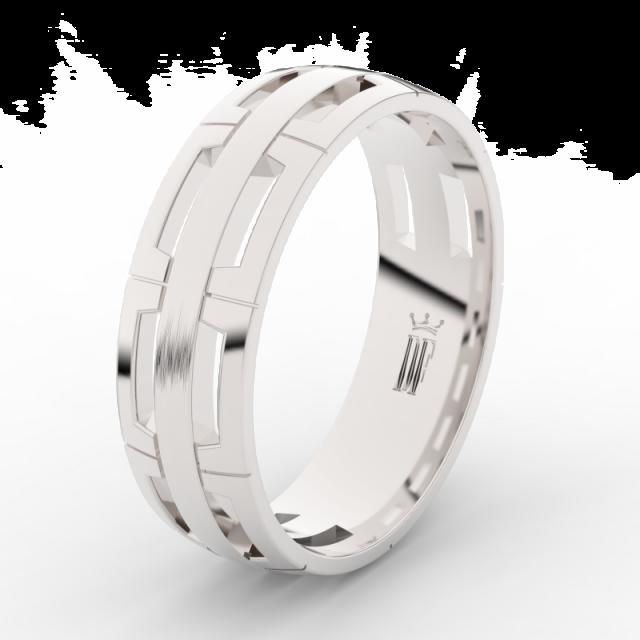 Pánský snubní prsten z bílého zlata Danfil DLR3049