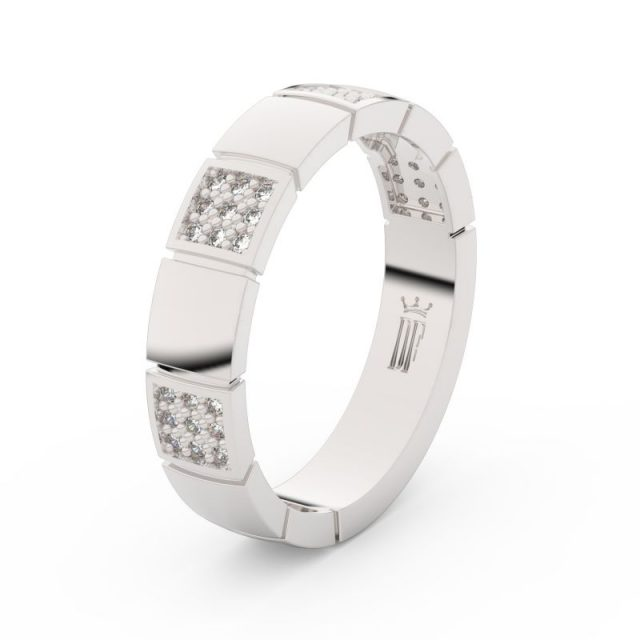Dámský snubní prsten z bílého zlata se zirkony, Danfil DLR3057