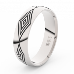 Pánský snubní prsten z bílého zlata Danfil DLR3075