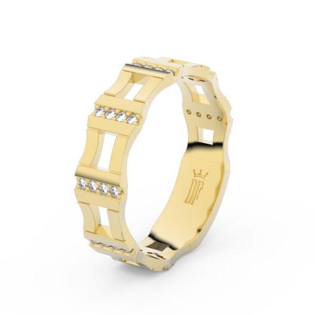 Dámský snubní prsten ze žlutého zlata se zirkony, Danfil DLR3074