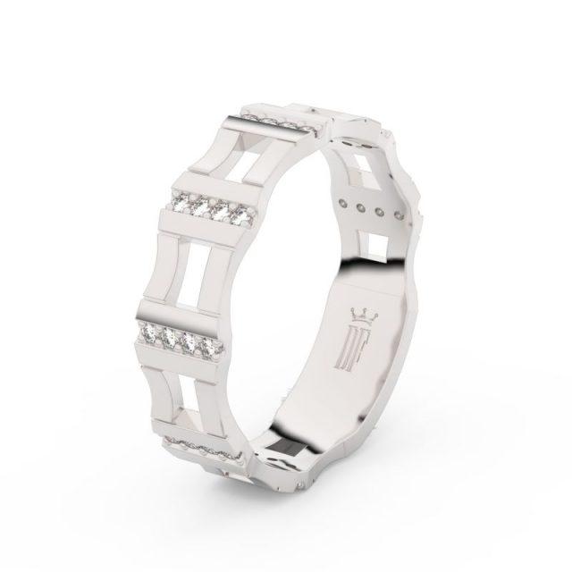 Dámský snubní prsten z bílého zlata se zirkony, Danfil DLR3084