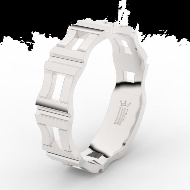 Pánský snubní prsten z bílého zlata Danfil DLR3085