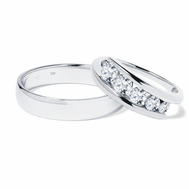 Snubní prsteny z bílého zlata s diamanty 7 g, pár, Klenota