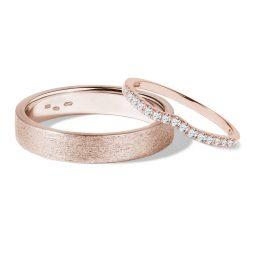 Snubní prsteny z růžového zlata s diamanty 0,22 ct, pár, Klenota