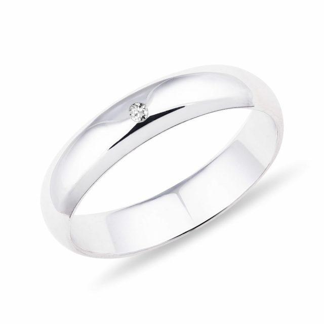 Dámský snubní prsten z bílého zlata a diamantem 4 mm Klenota
