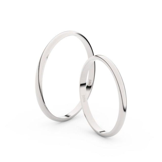 Snubní prsteny z bílého zlata, 1.7 mm, půlkulatý, pár – 4I17
