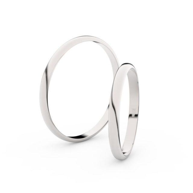 Snubní prsteny z bílého zlata – pár, 2 mm, Danfil DF 4H20