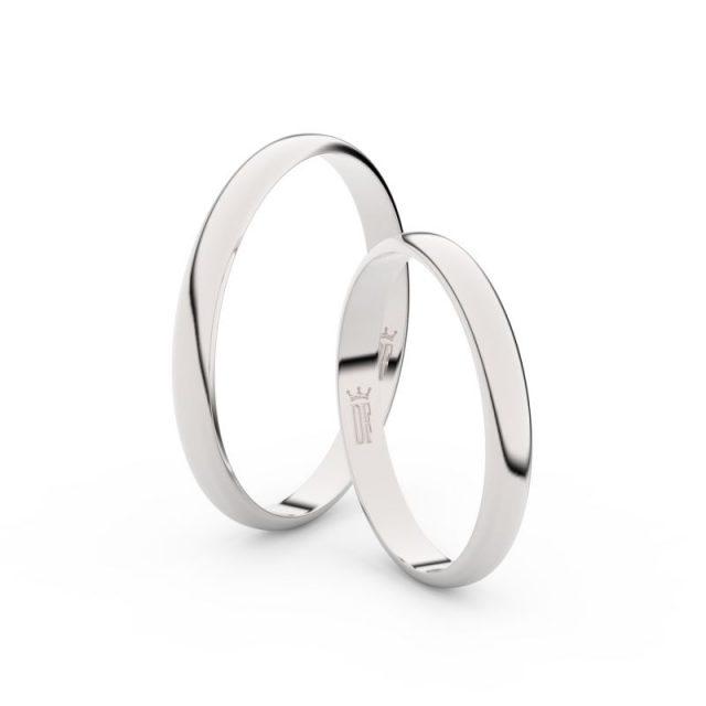 Snubní prsteny z bílého zlata, 2.5 mm, půlkulatý, pár – 4G25