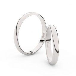 Snubní prsteny z bílého zlata - pár, 3 mm, 2A30
