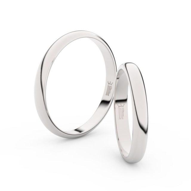 Snubní prsteny z bílého zlata – pár, 3 mm, 2A30