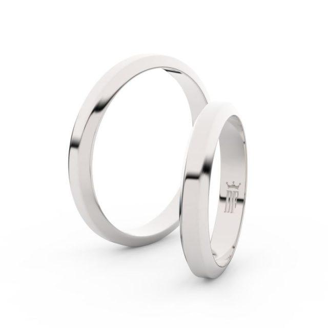 Snubní prsteny z bílého zlata – pár, 3.15 mm, Danfil DF 6B32