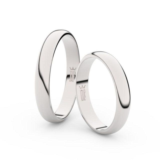 Snubní prsteny z bílého zlata – pár, 3.5 mm, Danfil DF 2B35