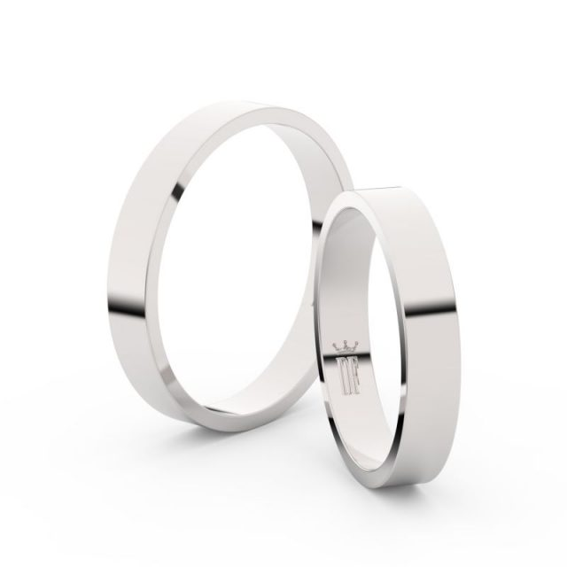 Snubní prsteny z bílého zlata – pár, 3.5 mm, Danfil DF 1G35
