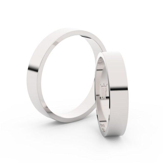 Snubní prsteny z bílého zlata – pár, 4 mm, Danfil DF 1G40
