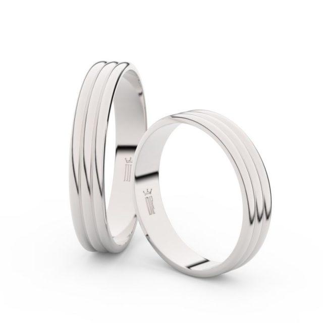Snubní prsteny z bílého zlata – pár, 4 mm, Danfil DF 4K37