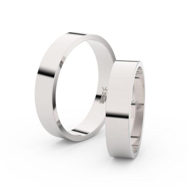 Snubní prsteny z bílého zlata – pár, 4.5 mm, Danfil DF 1G45