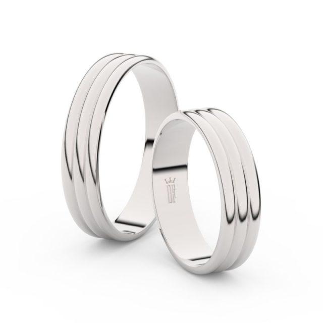 Snubní prsteny z bílého zlata – pár, 4.7 mm, Danfil DF 4J47