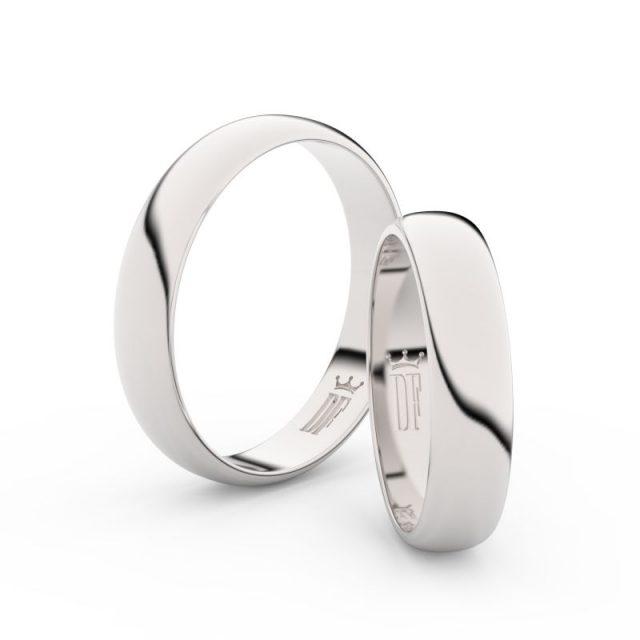 Snubní prsteny z bílého zlata, 4,5 mm, pár, Danfil DF 2D45