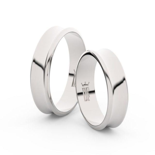 Snubní prsteny z bílého zlata – pár, 5 mm, Danfil DF 5A50