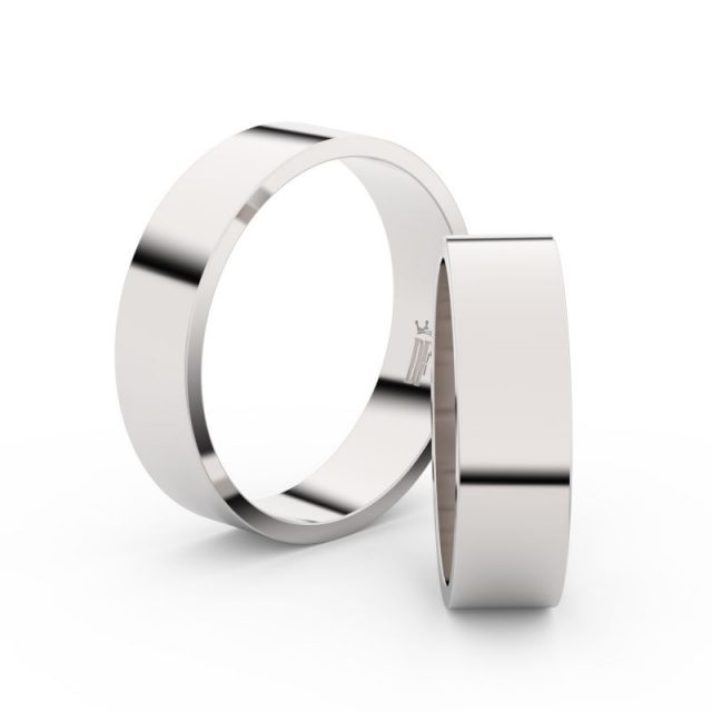 Snubní prsteny z bílého zlata – pár, 5.5 mm, Danfil DF 1G55
