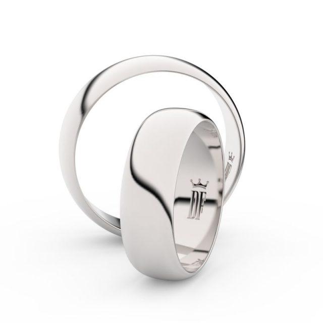 Snubní prsteny z bílého zlata – pár, 6 mm, Danfil DF 3A60