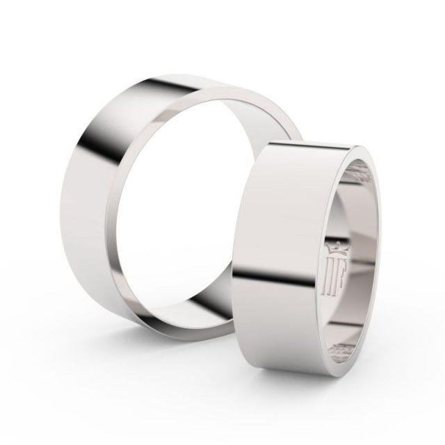 Snubní prsteny z bílého zlata, 7 mm, pár – 1G70