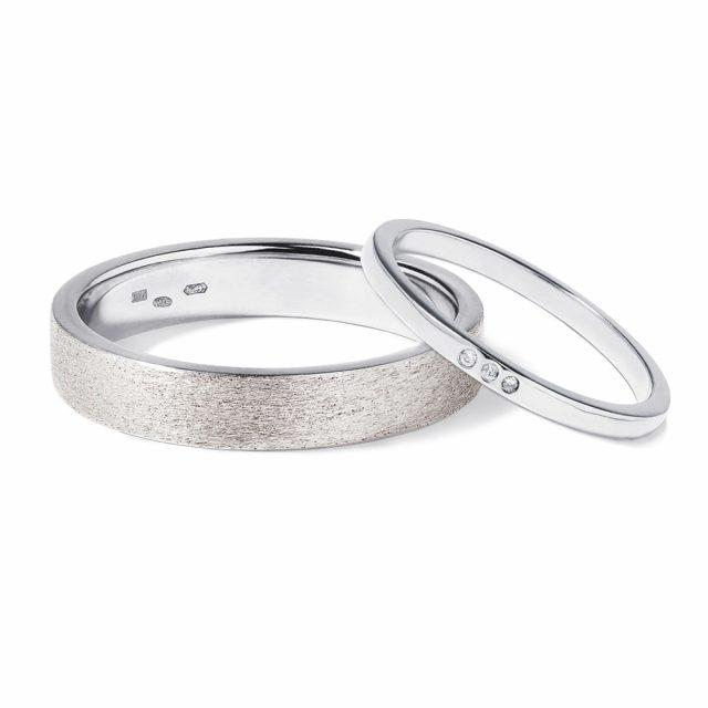 Snubní prsteny z bílého zlata a diamanty 6 g, pár, Klenota KLENOTA