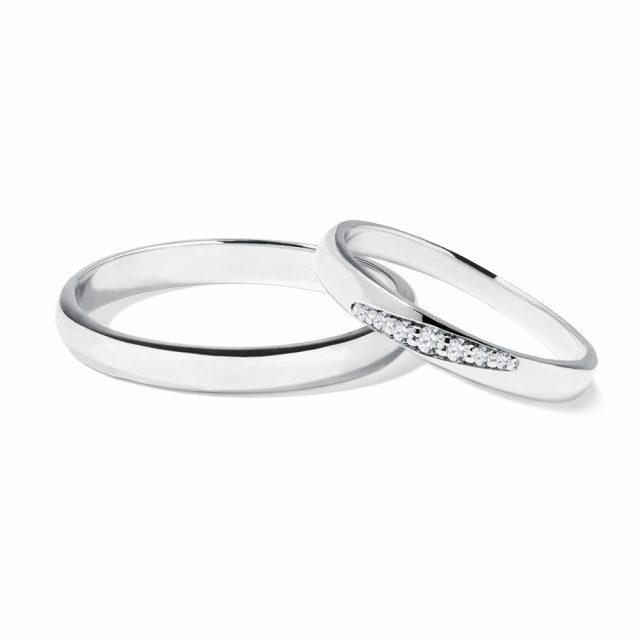Snubní prsteny z bílého zlata a diamanty 5 g, pár, Klenota