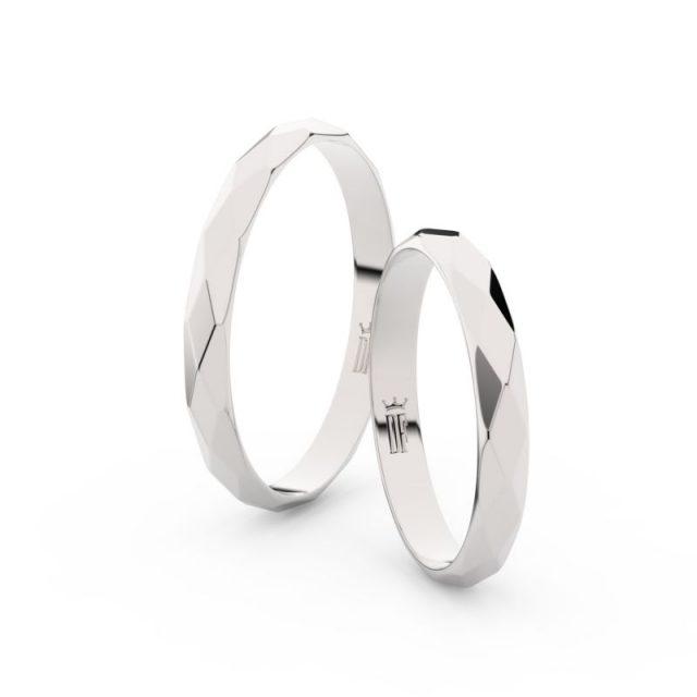 Snubní prsteny z bílého zlata – pár, Danfil DF 8B30
